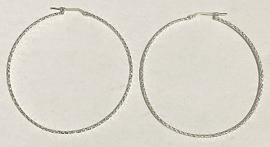Sterling Silver Textured Hoops 50mm x 1mm