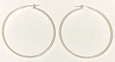 Sterling Silver Textured Hoops 52mm