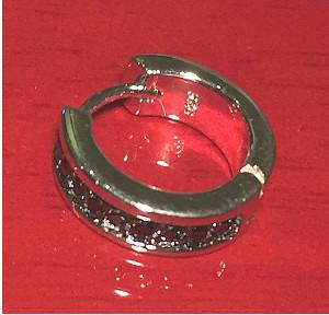 Unisex Sterling Silver Hoop Black Stones set