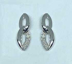 9ct White Gold Links Diamond set Earrings