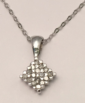 9ct White Gold Pave set Diamond Pendant