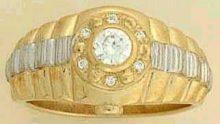 9 carat GOLD WATCH style Large CZ set RING