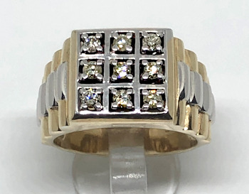 Large 9ct Gold Mens 0.50Ct Diamond Watch Strap Ring