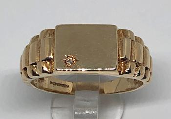 9ct Gold Mens Watch Strap design Signet Diamond Ring