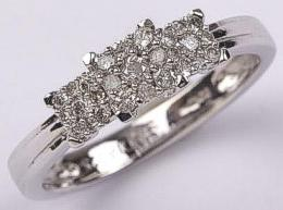 0.25 Diamond 3 Square Clusters 9ct White Gold Ring