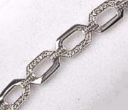 9ct White Gold Diamonds set Wide Loop Bracelet