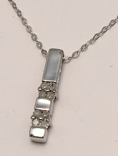 9ct White Gold Diamond set Stick Pendant