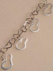 Sterling Silver Heart Bracelet with Wavy Hearts