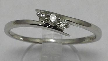 9ct White Gold 0.10Ct Diamonds Trilogy Ring [SIZE U]