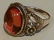 Sterling Silver Large Fancy AMBER Ring