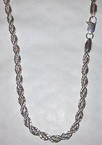 Massive 30inch long Silver plated Rope Chain