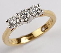 75pt Diamond Trilogy 18ct Yellow Gold Ring